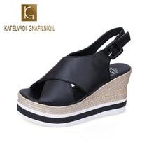 KATELVADI Summer Black Wedge Sandals Women Peep Toe Buckle Waterproof Platform Wild Casual Thick-Soled  Womens Shoes W K-432