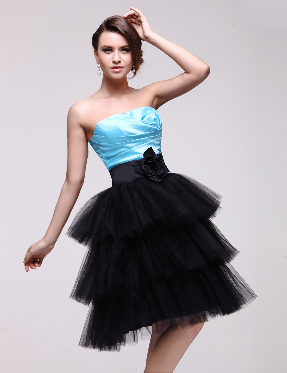 Tulle   Cocktail     Dress   contrast color tiered prom   dresses   strapless flower formal party   dress   birthday   dress   vestido de festa