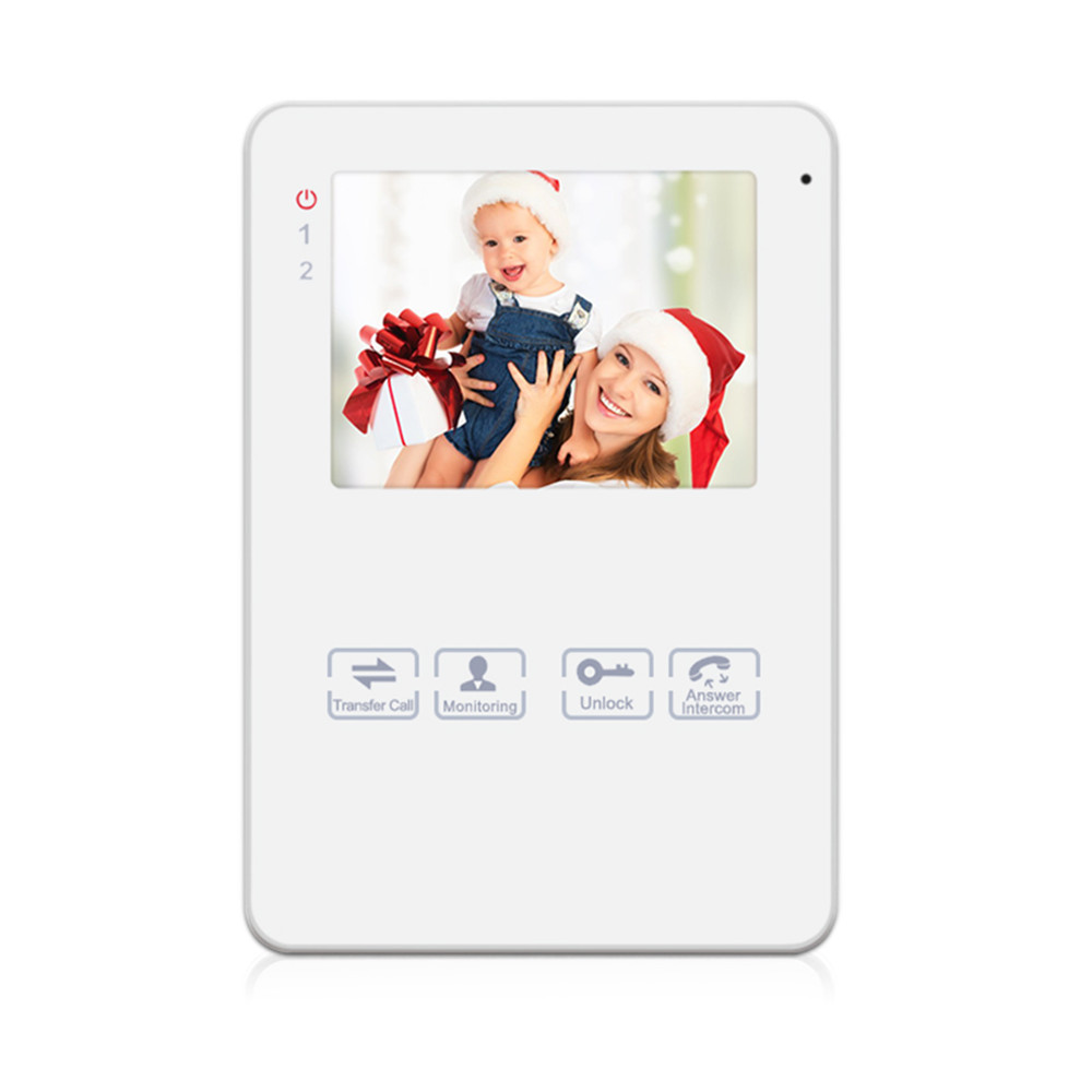Homefong  Video Door Phone Video Intercom 4 Inch Monitor White