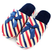 Cotton-Padded Women Slippers Bowknot Striped Winter Slipper Shoes Home Indoor Floor Womens Non-Slip Soft Warm Shoe Pantufas