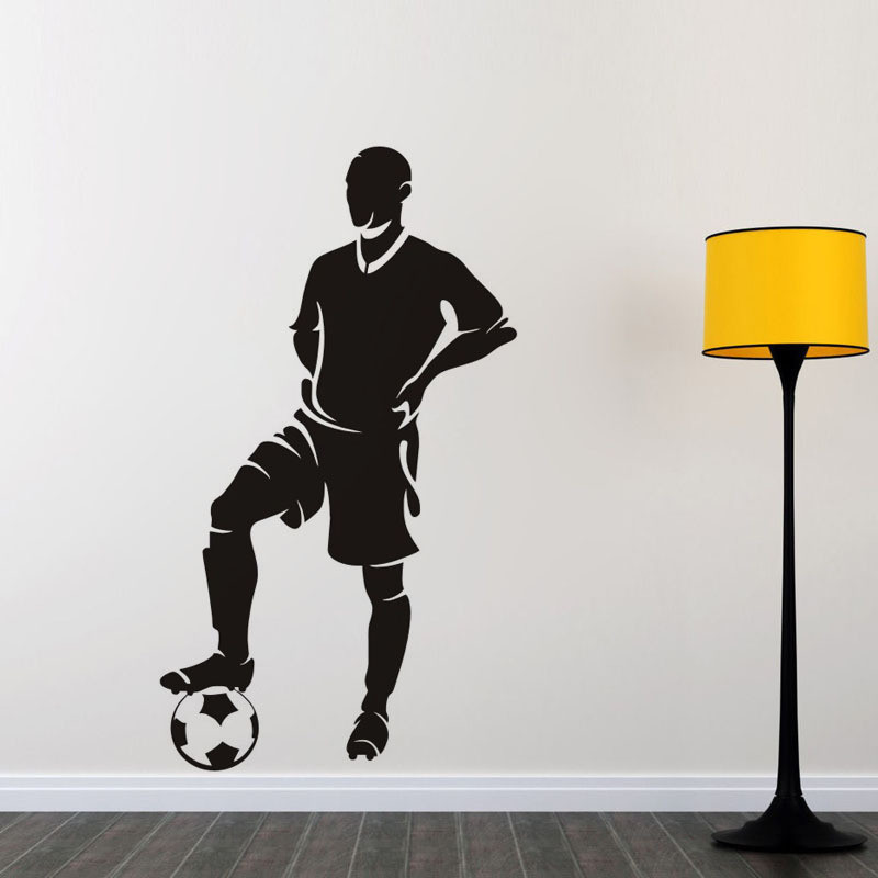 soccer player vinyl wall decal sports home decor living room bedroom removable wall stickers diy art mural wallpaper