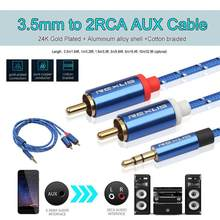 REXUS 3.5mm Jack Male to 2 RCA Male Earphone Aux Audio Splitter Cable Wire for Amplifier Phone Edifer Home Theater Headphone New(China)