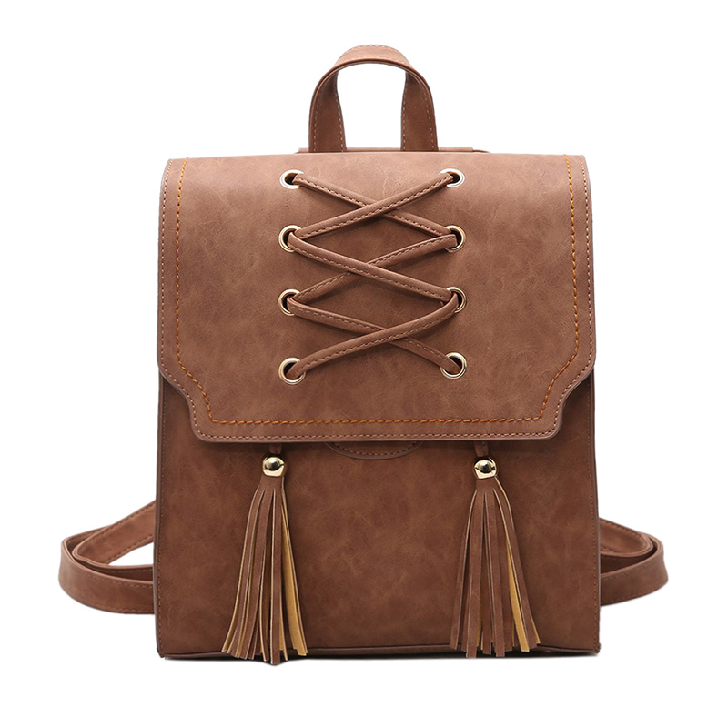 Female PU Leather Women's Backpacks New Women Backpack Tassel Girls Bags Retro Lady Hot School Bags bolsas feminina mochila