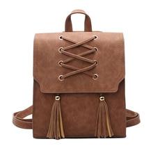 Женский пу кожа женщин рюкзаки новый женский рюкзак кисточкой девушки сумки ретро леди горячие школьные сумки mochila bolsas feminina