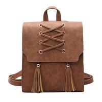 Kobieta pu skórzane damskie plecaki nowy kobiety plecak kitki torby dziewczyny retro lady hot szkolne torby bolsas feminina mochila