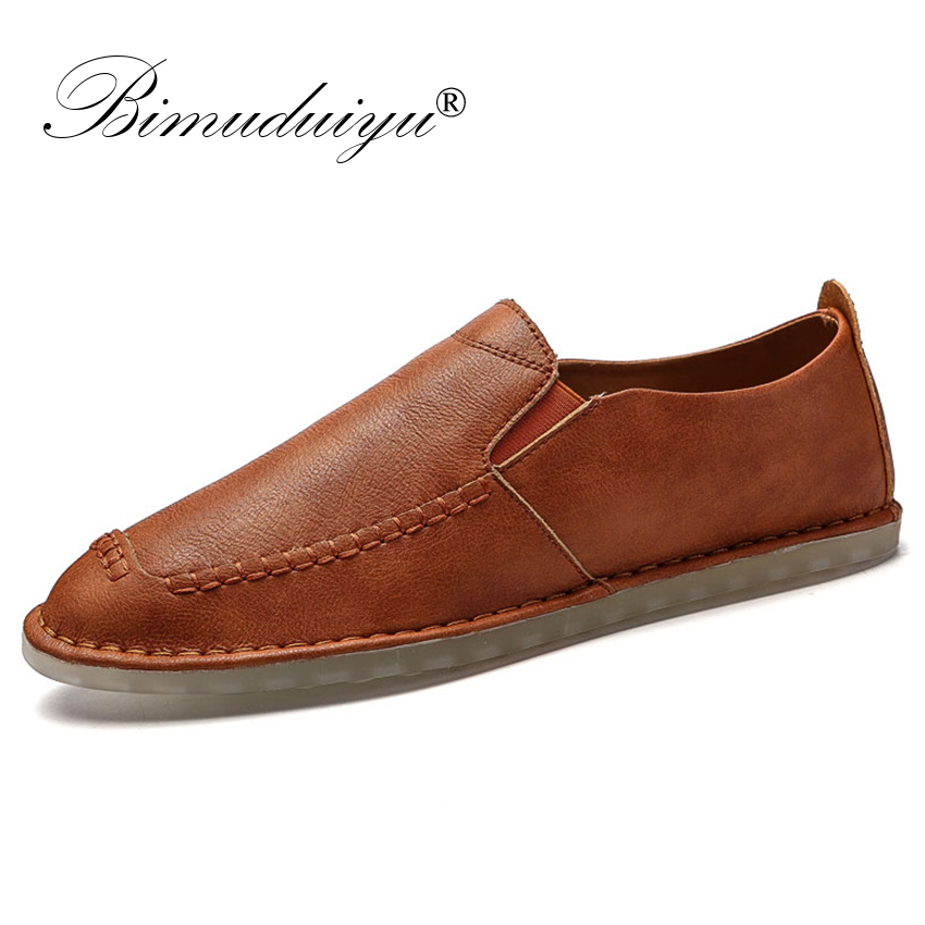 BIMUDUIYU Mens Shoes Casual Luxury Brand Spring Men Loafers Handmade Leather Moccasins Comfy Breathable Slip On Fashion Shoes bimuduiyu new fashion mens shoes spring summer breathable quality casual shoes slip on mens loafers designers moccasins men shoe