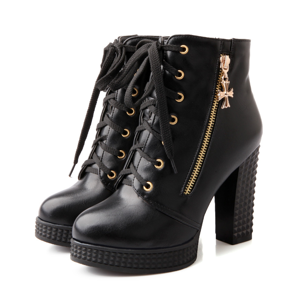 Sales New Sexy Black White Women Ankle Riding Motorcycle Boots Ladies Shoes High Heels A3-2B Plus Big Size 32 42  Lace up brand new hot sales women nude ankle boots red black buckle ladies riding spike shoes high heels emb08 plus big size 32 45 11