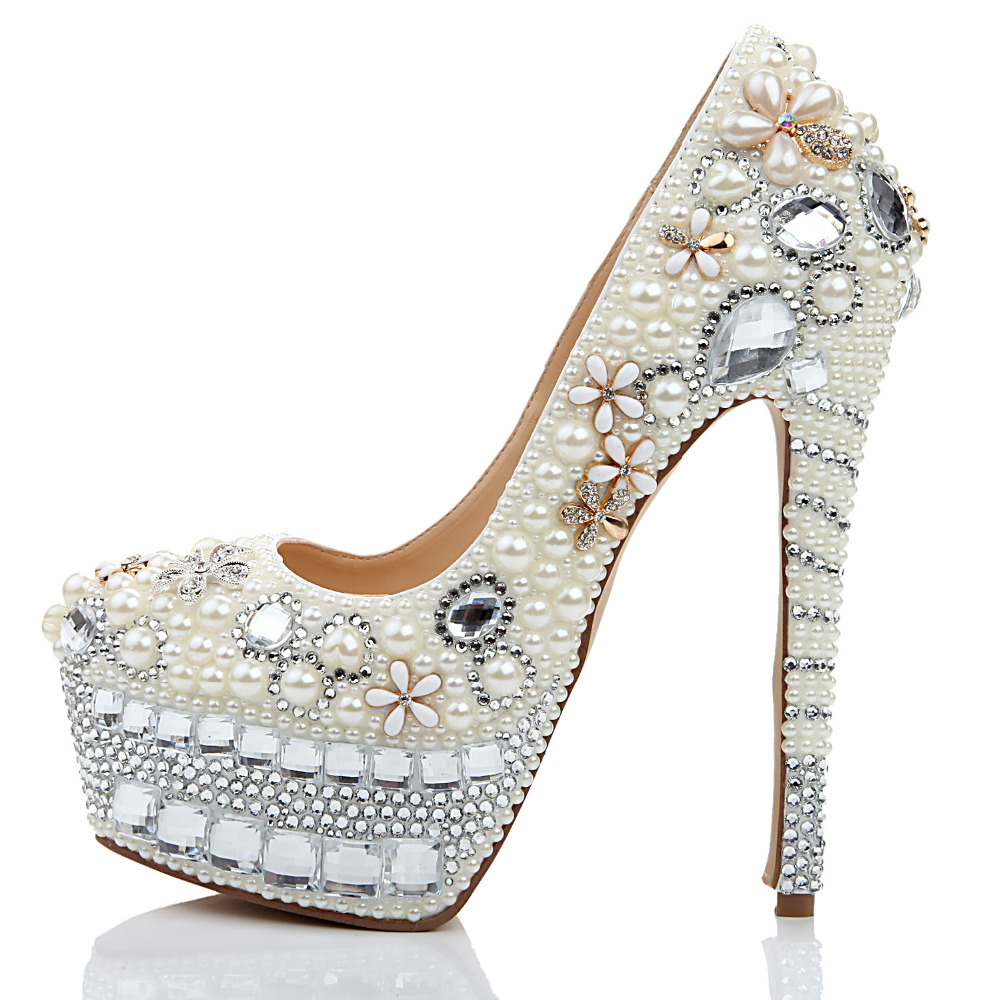 Hot Selling White Pearls Crystal Decoration Pointed Toe Shallow Pumps Sexy Sky High 16cm Heel Slip On Party Shoes Platform Heels new 2018 spring hot selling high heel shoes sexy pointed toe flower printed woman pumps slip on stiletto heels party shoes
