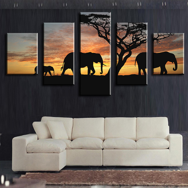 5 Piece Elephants Walking Modern Home Wall Decor Canvas Picture Art HD  Print WALL Painting Set
