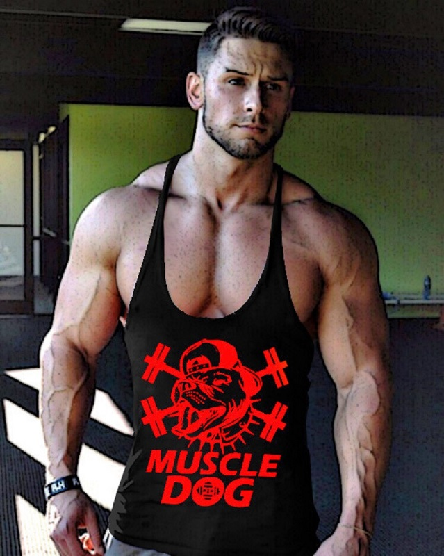Men Muscle Dog Design High Quality Sweat Tank Top Stringer Muscle Bodybuilding font b Fitness b