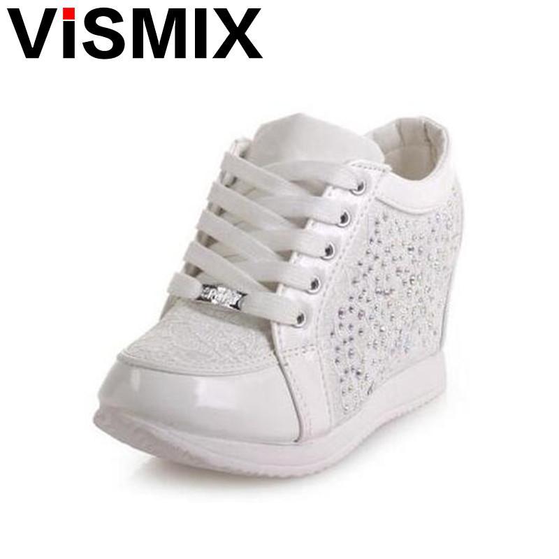 VISMIX Black White Free Shipping Hidden Wedge Heels Fashion Women's Elevator Shoes Casual Shoes For Women Wedge Heel Rhinestone