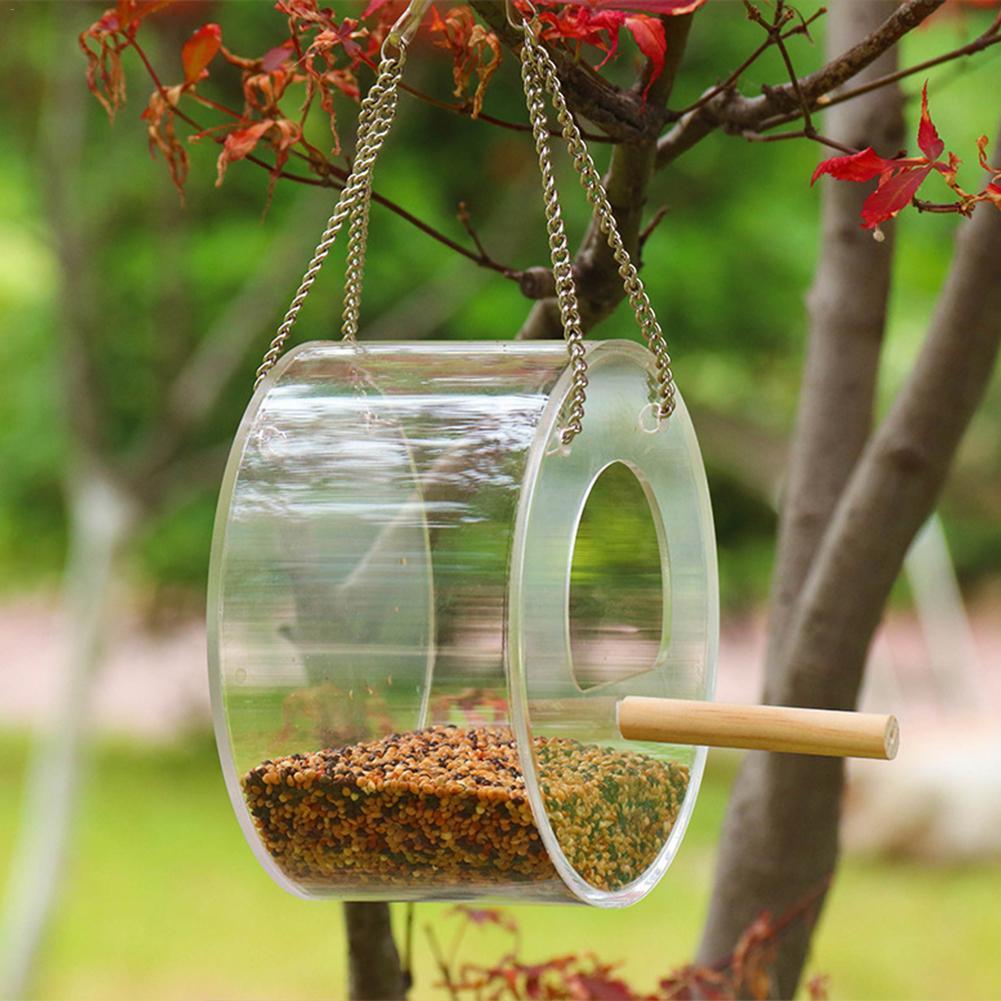 Acryl Vogel Feeder Lebensmittel Box Anti-streuen Papagei Feeder Mit Stand Vögel Fütterung Liefert Hängen Fütterung Box Im Freien