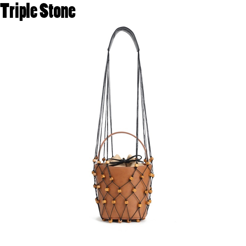 Famous Brand Design Hollow Out Net Bucket Bag Mesh Beaded Bags For Women Vintage Chic Real Leather Luxury Lady Handbags Holiday chic faux crystal leaf hollow out bracelet for women