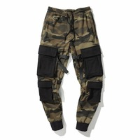 2018SS NEW hip hop Spliced ribbon pockets joggers cargo pants men track pants trousers camouflage mens clothing camo pants M XL