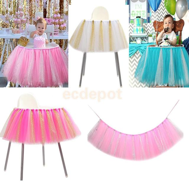 Creative Handmade Glitter Soft Tulle Tutu Skirt High Chair