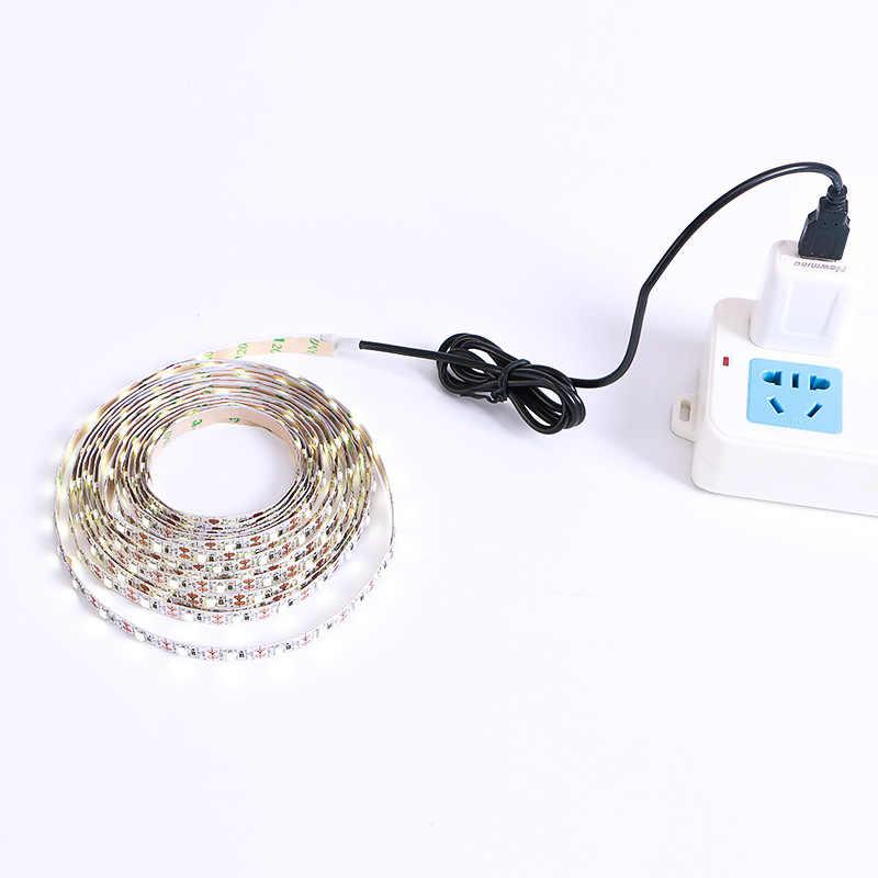 DC 5V taśma LED 3Key kabel USB zasilanie elastyczne światło lampa 50CM 1M 2M 3M 4M 5M SMD 2835 biurko ekran taśma oświetlenie tła do tv
