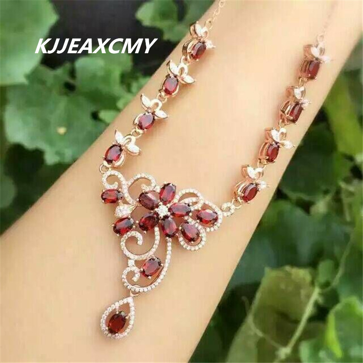 KJJEAXCMY boutique jewelry,Natural garnet female Necklace inlaid jewelry wholesale, S925 silver pure silver wholesale wholesale