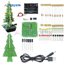 Three-Dimensional 3D Christmas Tree LED DIY Kit LED Flash Circuit Kit Electronic Fun Suite Red/Green/Yellow Holiday Decoration