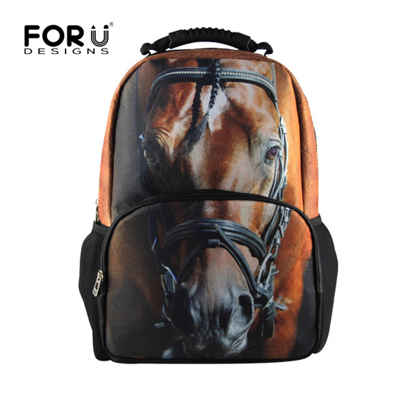 Cool Children School Bags 3D Animal Crazy Horse Print School Bag for Teenagers Boys Girls Cool Kids Schoolbag Book Bags fnaf cute maine coon cat printing backpacks for kids cartoon school bags children teenagers boys girls schoolbag child book bag
