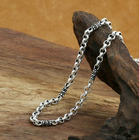 Sautoir hommes collier initial sans collier 925 collier en argent sterling