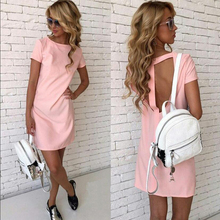Women Summer spring Sexy Back Hollow Straight Dress vestidos O-Neck Short Sleeve Girl Preppy style party Mini Slim dress