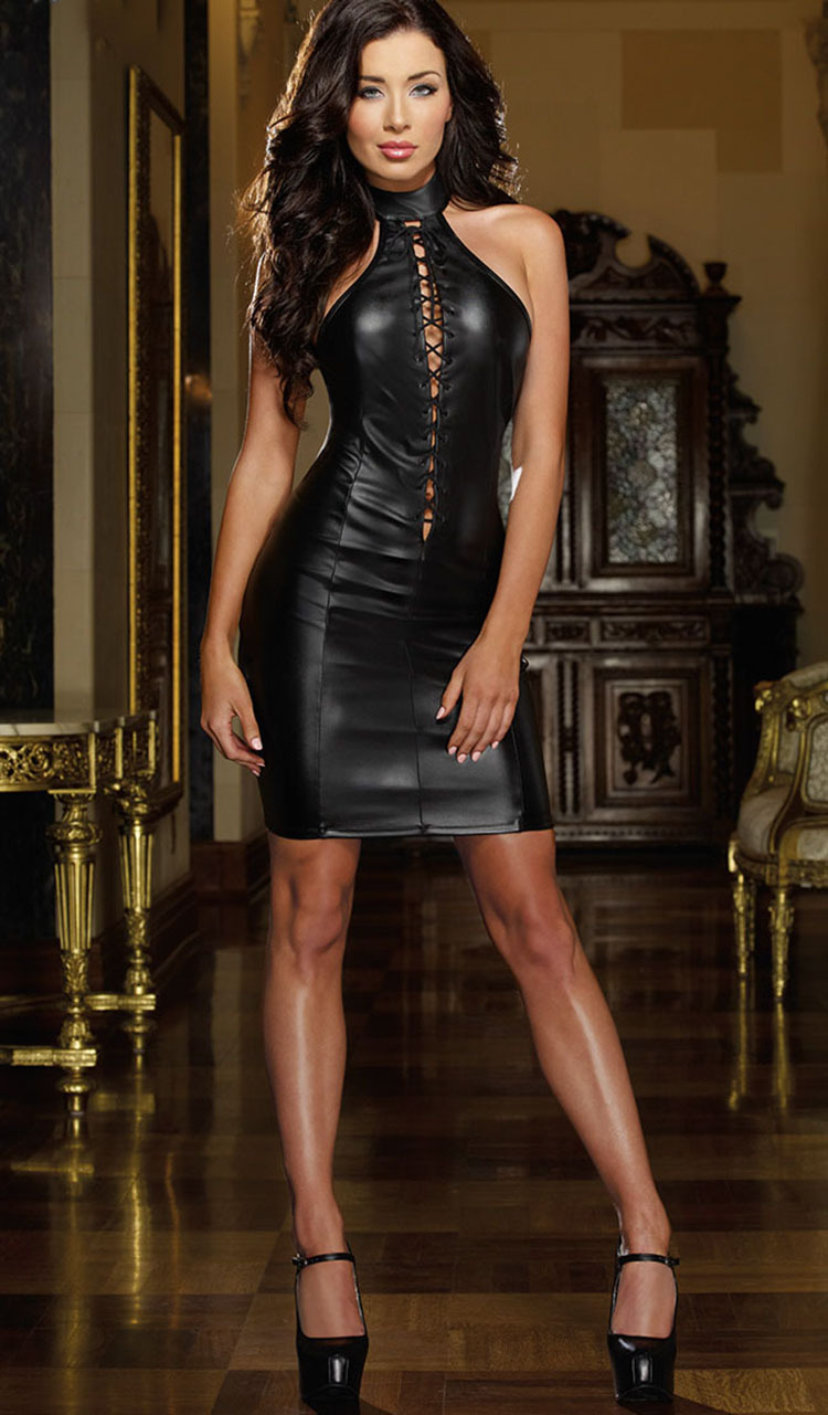 762daf6142cc7 Faux Leather Dress with Studded Cups,Sexy Costumes,Sexy Band Dress,Sexy Leather  Clubwear,Women Dresses,Hot Party Dresses-in Dresses from Women's Clothing  on ...