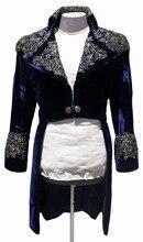 2017 Latest Coat Pant Designs Navy Blue Pattern Velvet Men Rhinestone jacket Halloween Slim Fit Tuxedo Suits Custom Blazer Terno