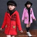 2016 New fashion girl wool mixed children's clothing fall winter coat wool woolen cloth coat woollen