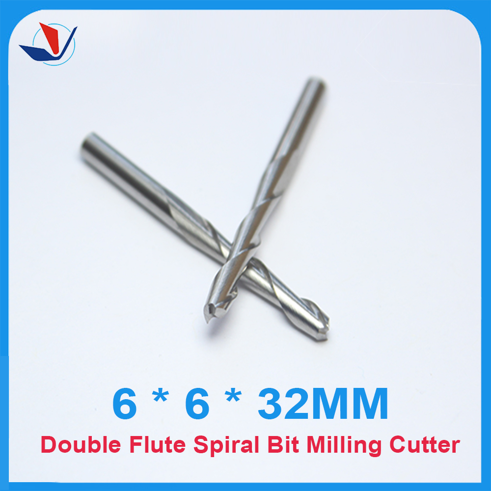 Free Shipping 5pcs Carbide CNC Router Bits Two Flutes Spiral End Mills Double Flutes Milling Cutter Spiral PVC Cutter6.32MM free shipping 5pcs carbide cnc router bits two flutes spiral end mills double flutes milling cutter spiral pvc cutter 6mm 32mm