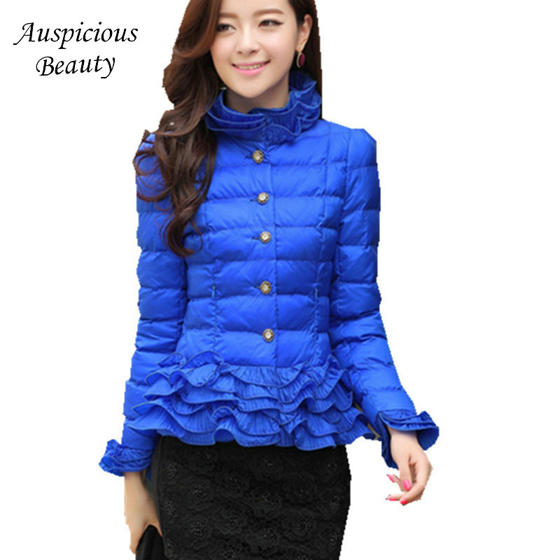 New Plus Size Women Coat Fashion Warm Winter Thicken Down Jackets Women Parkas Casual Slim Ruffles Overcoat Female TSL160 2014 female new fashion waist thicken over knee parkas female long slim down jackets winter coat