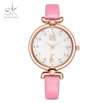 Shengke New Fashion Women Watches Elegant Crystal Dial Watch Female Quartz Clock Thin Leather Strap Wristwatch Montre Femme 2017