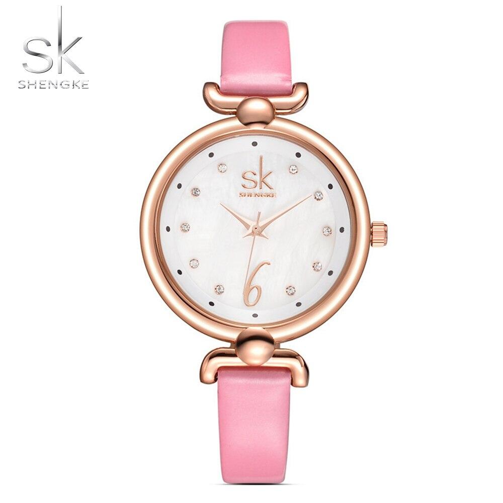 Shengke Neue Mode Frauen Uhren Elegante Kristall Zifferblatt Uhr Weibliche Quarz Uhr Dünne Lederband Armbanduhr Montre Femme 2017