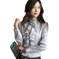 Korean Ruffled Lady Fashion Chiffon Blouse Plus Size S 2XL OL Style Clothing Women Casual White