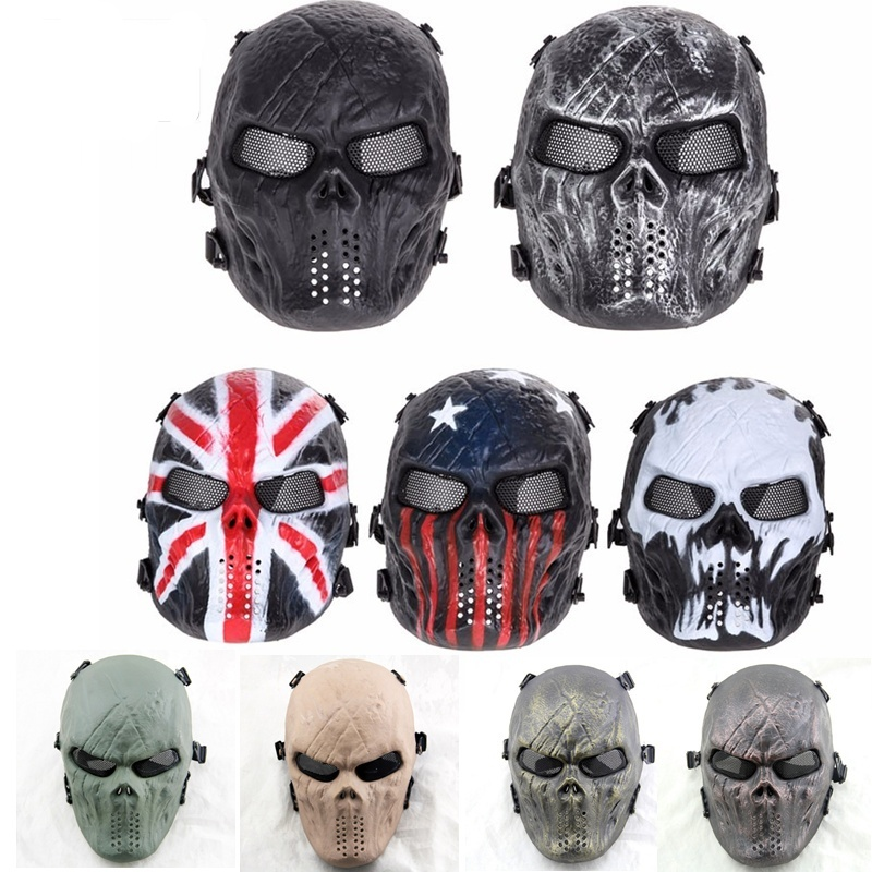 M06 Airsoft Paintball Full Face Skull Tactical Mask Halloween Party CS Wargame Military Hunting Protective Mask