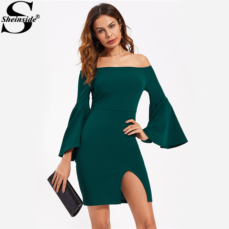 Sheinside Green Off The Shoulder Exaggerate Flare Sleeve Dress Fall Long Sleeve Slit Bardot Pencil Dress 2017 Elegant Dress