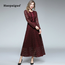 S-XXL Plus Size 2018 Autumn Lace Long Dress Women O-neck Long Sleeve Casual Wrap Dress women Solid Midi Party dresses Ladies s xxl plus size corset blue knitted sweater dress women turn down collar casual elegant dress women midi long sleeve dresses