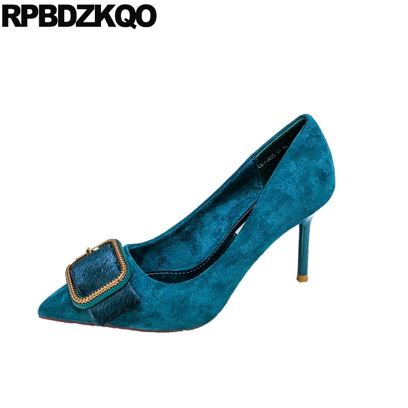 metal suede pumps size 4 34 high heels ladies stiletto pointed toe 8cm turquoise wedding shoes handmade genuine leather famousmetal suede pumps size 4 34 high heels ladies stiletto pointed toe 8cm turquoise wedding shoes handmade genuine leather famous