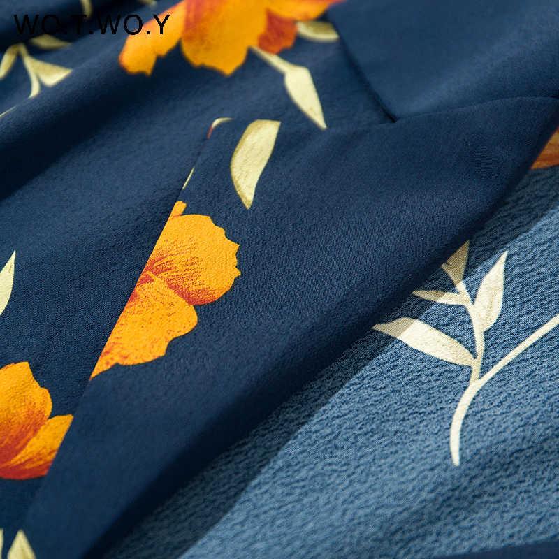 WOTWOY אביב פרח דפוס צווארון V חולצות נשים סקסי שחור קוריאני נווד Loose Vintage נקבה Blusas חולצות Streetwear 2019 חדש