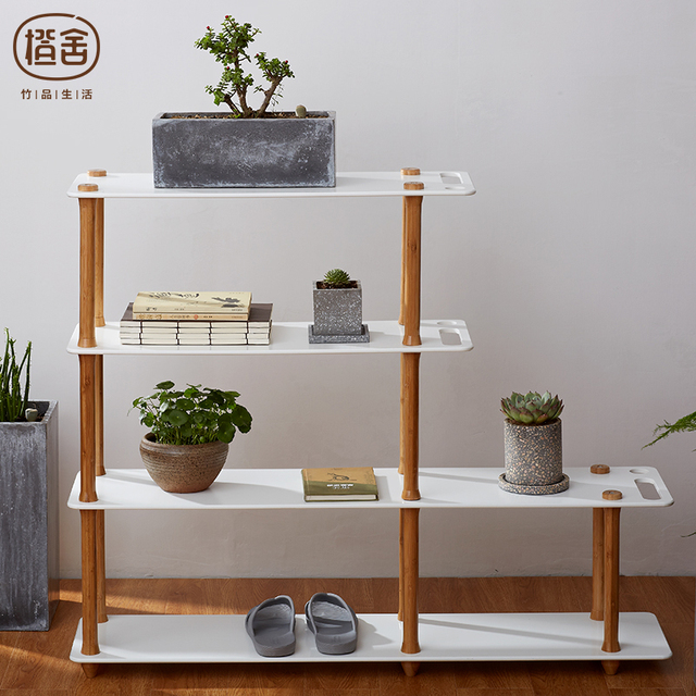 ZENu0027S BAMBOO Storage Shelf Rack Book Shelves Office Bookcase Furniture  Wooden Plant Display Shelf Bedroom Living