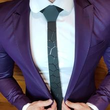 GEOMETIE New Arrival  Cutting Stone Handmade Black Necktie