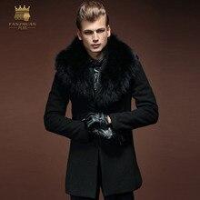 Бесплатная Доставка Новая мода случайные мужской Зимний мужской черный с длинными рукавами меховой воротник пальто шерсти долго ветровка 14107 fanzhuan