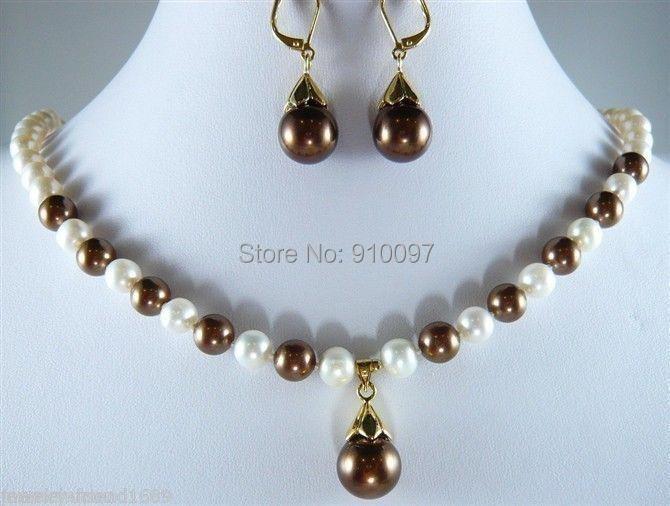 5a7659046534 Lhx54013  Joyería blanco perla chocolate Conchas perla Pendientes y collar  conjunto
