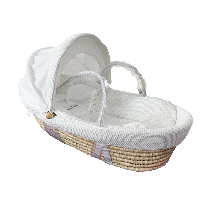 Cradle For Newborns Natural Corn Woven Baby Bassinet Waffle Fabric Portable Baby Basket Wood Children's Bed Crib With Wheels
