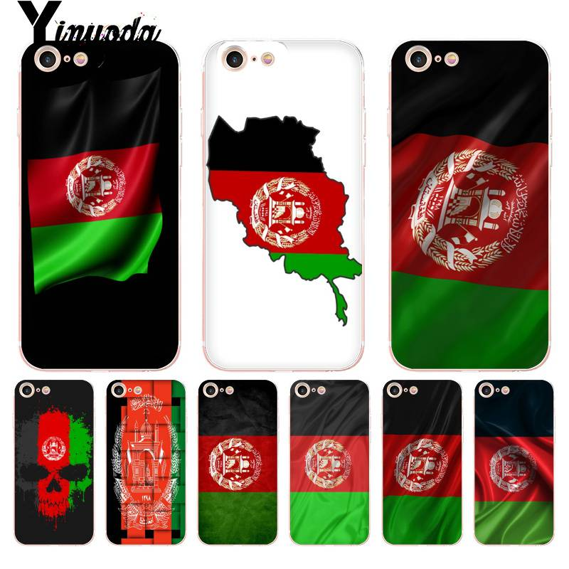Yinuoda For iPhone 7 6 X Case Afghan <font><b>Afghanistan</b></font> AF flag Banner Transparent Phone Case for iPhone 8 7 6 6S Plus X XS XR SE 5C 4 image