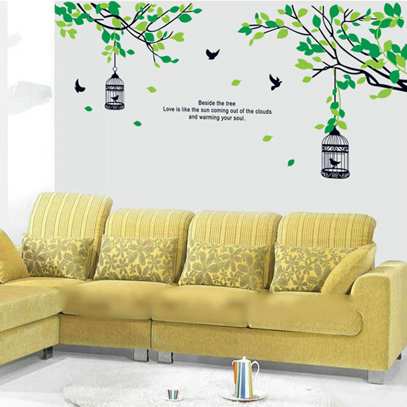 Trees Branches Birdcage Birds Wall Decals Living Room Bedroom Home ...