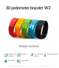 2016 Hot Wholesale W2 Smartband Slim Smart Bracelet USB Wristwatch Sleep Temperature Calorie Monitor Time Display Fitness