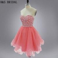 H & S Свадебная Настоящая модель без бретелек персикового цвета короткое платье для выпускного вечера, лиф сердечком критальное вышитое бисе