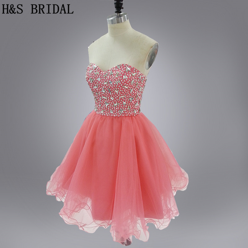H&S BRIDAL Real Model strapless peach color short Prom   Dress   Sweetheart Crytal Beaded   cocktail     dresses