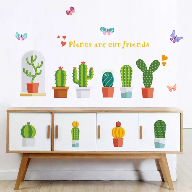Creation Cactus Wall Stickers For Kids Rooms Wall Decals Girls Children  Nursery Baby Room Decor Wallpaper Mural Gift