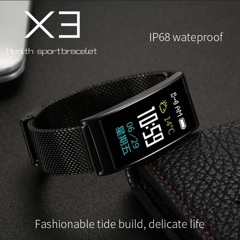 X3 Sports smart band blood pressure heart rate monitor IP68 waterproof Bluetooth fitness tracker pedometer smart bracele